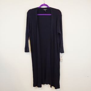Style & Co Ribbed Black Duster Cardigan 2X New